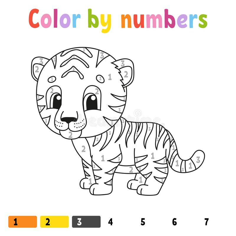 Color by numbers. Coloring book for kids. Cheerful character. Vector illustration. Cute cartoon style. Hand drawn. Fantasy page. For children. Isolated on white royalty free illustration