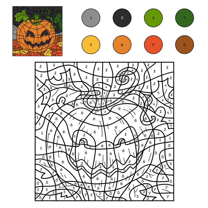 Color By Numbers: Halloween Pumpkin Stock Vector - Illustration of ...
