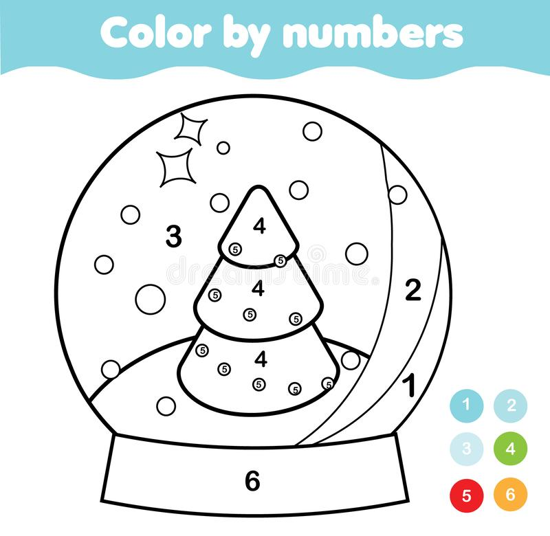 Color by numbers for kids. Educational game for children. Christmas snow globe. Drawing kids printable activity. New Year holidays royalty free illustration
