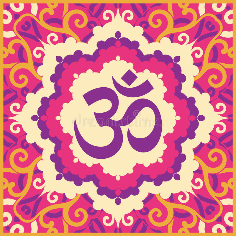 Color ohm. Vector indian spiritual sign ohm royalty free illustration