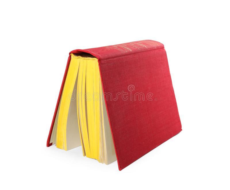 Color old hardcover book on background. Color old hardcover book on white background stock photography