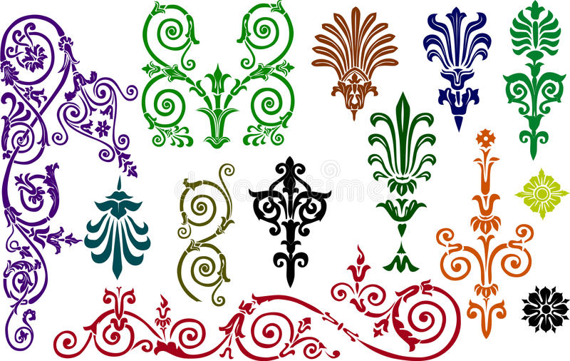 Color ornament elements collection vector illustration