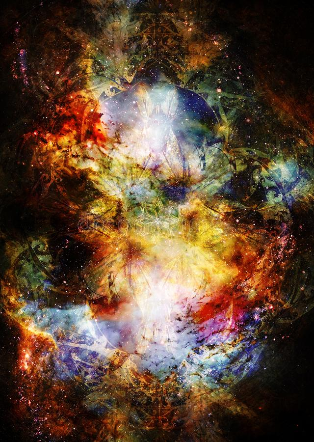 Color ornamental structure in cosmic space. Color ornamental structure in cosmic space royalty free illustration