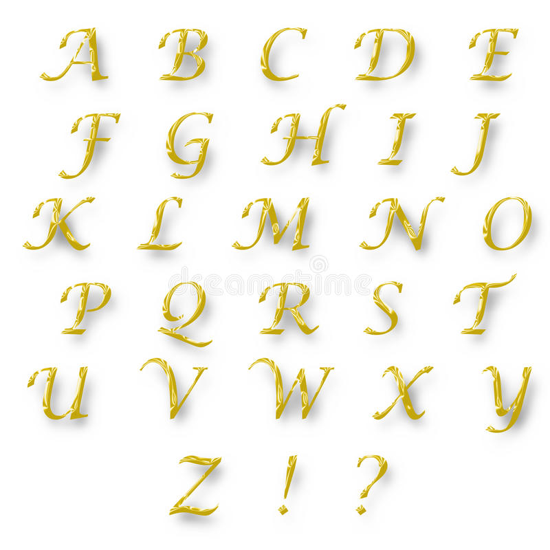 Color oro del alfabeto inglés fotos de archivo libres de regalías