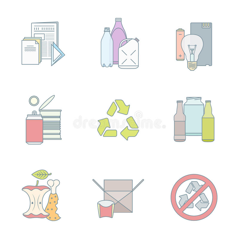 Color outline various waste recycle separate collection. Vector color outline infographic various waste groups icons set for separate collection and recycle stock illustration