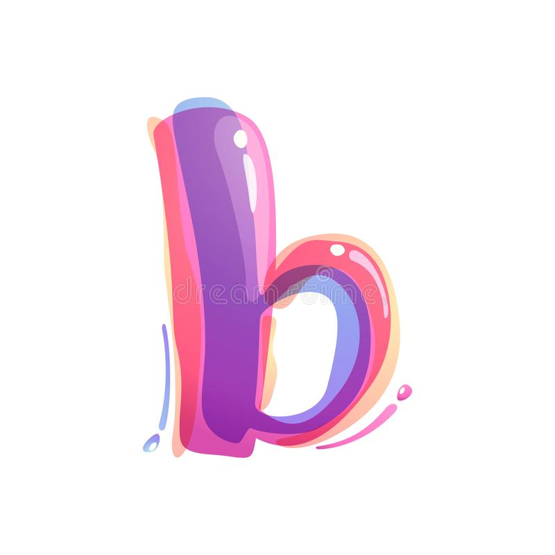 B letter logo formed by watercolor splashes. Color overlay style. Vector typeface for labels, headlines, posters, cards etc stock illustration