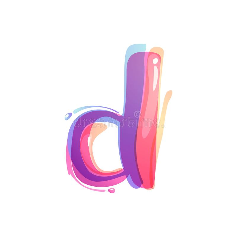 D letter logo formed by watercolor splashes. Color overlay style. Vector typeface for labels, headlines, posters, cards etc stock illustration