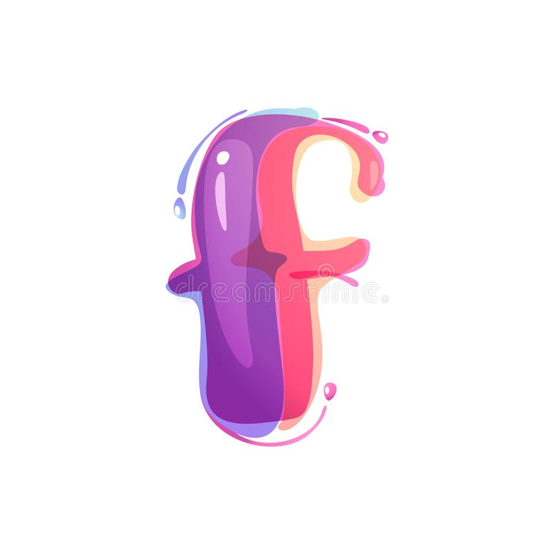 F letter logo formed by watercolor splashes. Color overlay style. Vector typeface for labels, headlines, posters, cards etc vector illustration