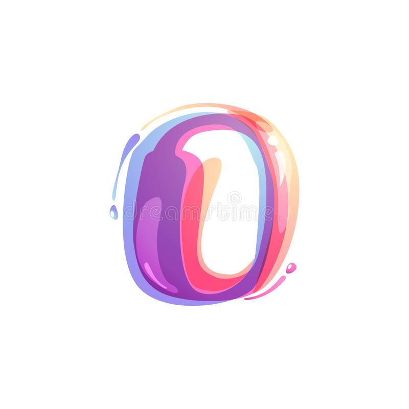 O letter logo formed by watercolor splashes. Color overlay style. Vector typeface for labels, headlines, posters, cards etc vector illustration