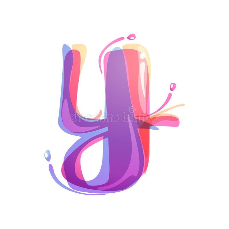 Y letter logo formed by watercolor splashes. Color overlay style. Vector typeface for labels, headlines, posters, cards etc royalty free illustration