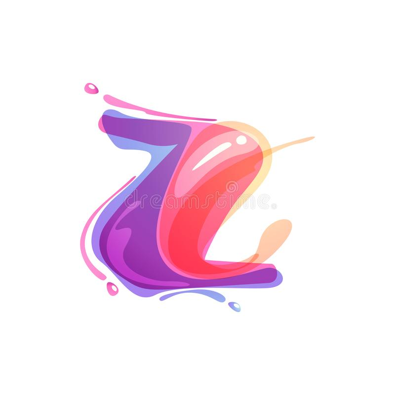 Z letter logo formed by watercolor splashes. Color overlay style. Vector typeface for labels, headlines, posters, cards etc vector illustration