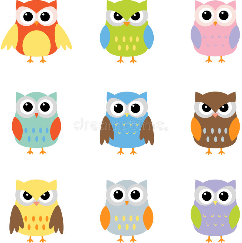 Owls color owls clip art by yulia87 on dreamstime - Color Owls Clip Art Stock Vector Image Of Blue Pink
