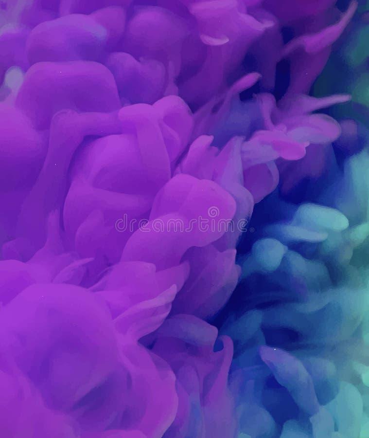 Color púrpura y azul en agua stock de ilustración