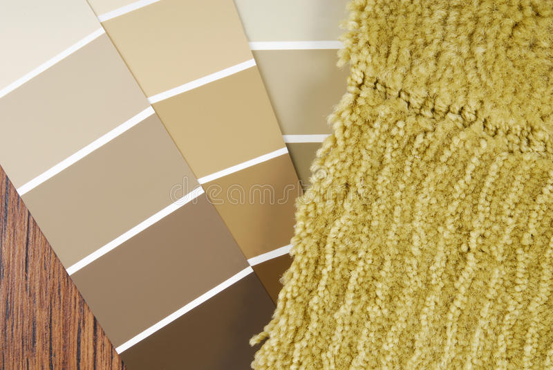 Color paint and carpet choice stock image