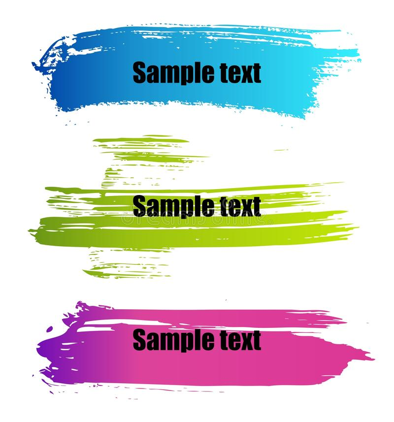 Color paint grunge banners. Set of vector colorful paint grunge banners stock illustration