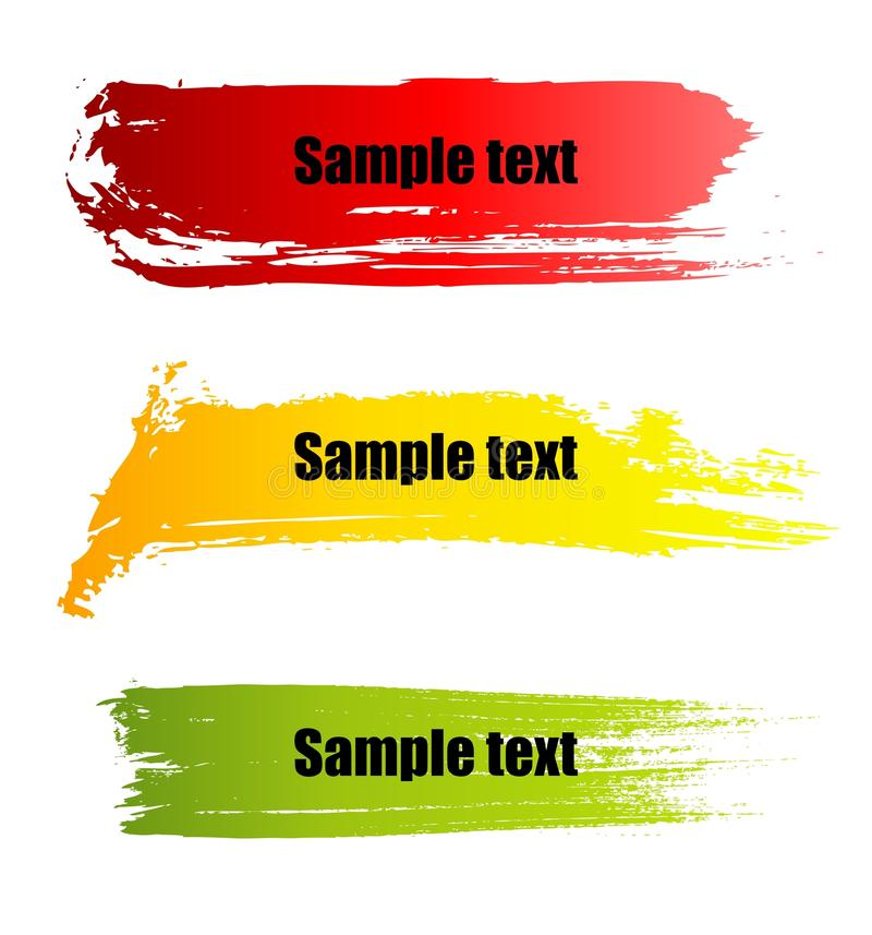 Color paint grunge banners. Set of vector colorful paint grunge banners royalty free illustration