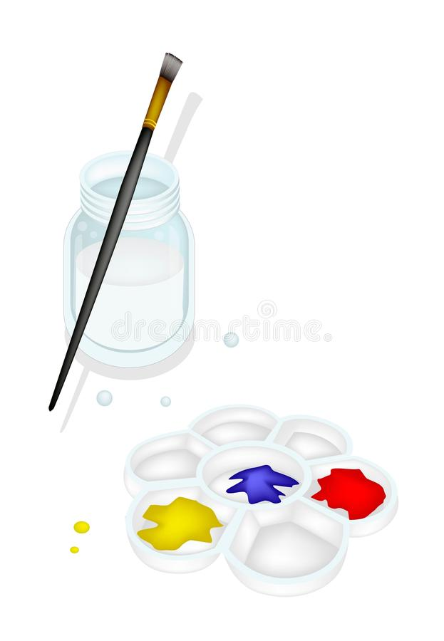 Free Color Paint In Palette With Brush And Jar Stock Photography - 36227122