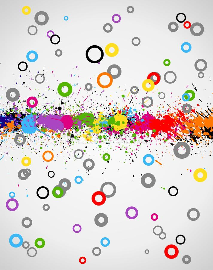 Color paint splashes background. Illustration of line color paint splashes on cartoon background stock illustration