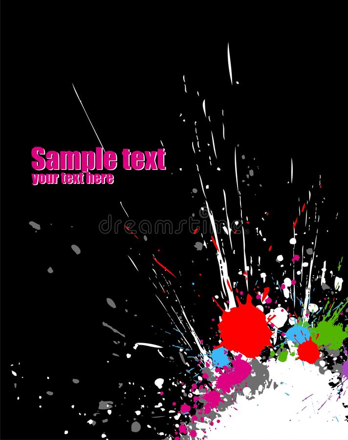 Color paint splashes background. Illustration of line color paint splashes on black background royalty free illustration