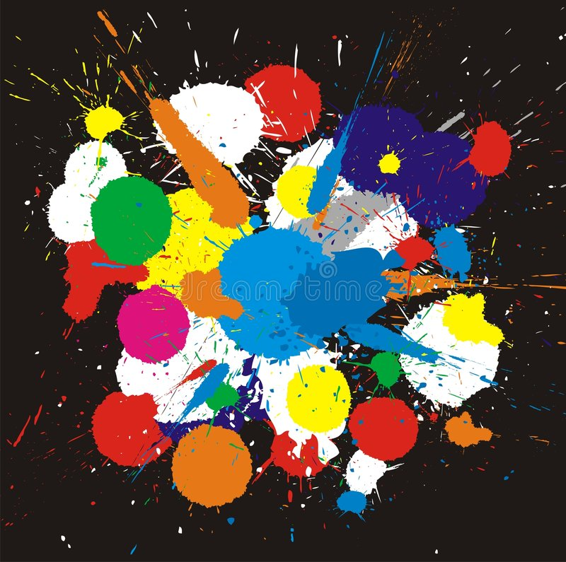 Color paint splashes. Vector background. Illustration of color paint splashes on black background stock illustration