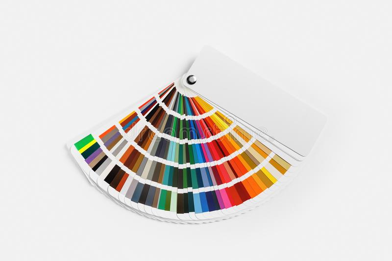 Color palette guide. Color palette on white paper background. Guide of paint samples. Colored catalog. Flat lay stock photo