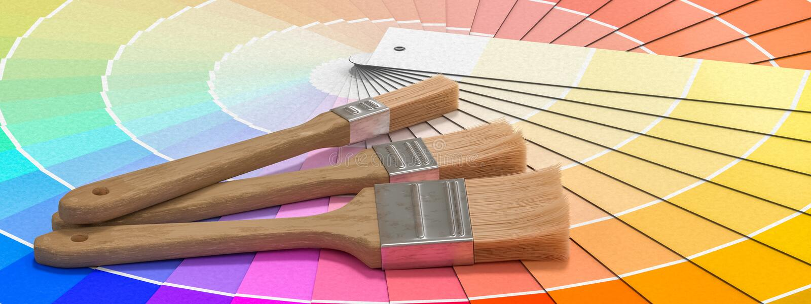 Color palette - guide of paint samples and painting brushes. 3D rendered illustration.  vector illustration