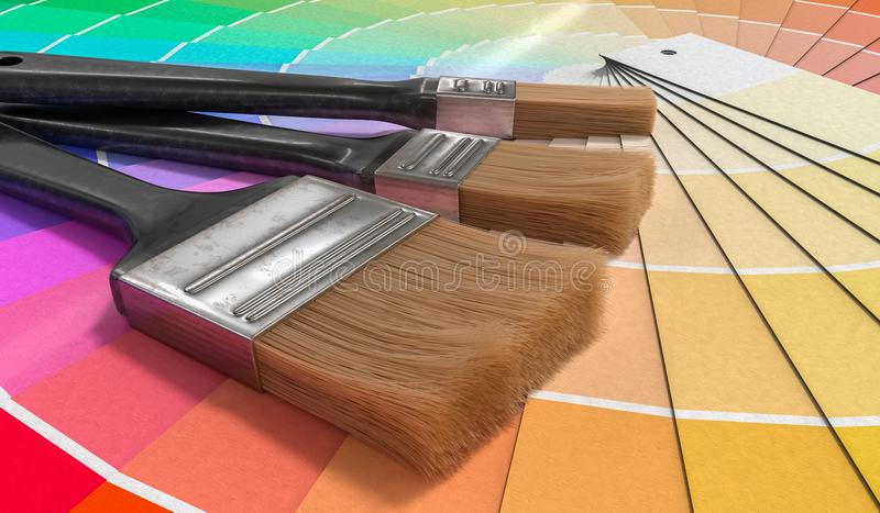 Color palette - guide of paint samples and painting brushes. 3D rendered illustration.  stock illustration