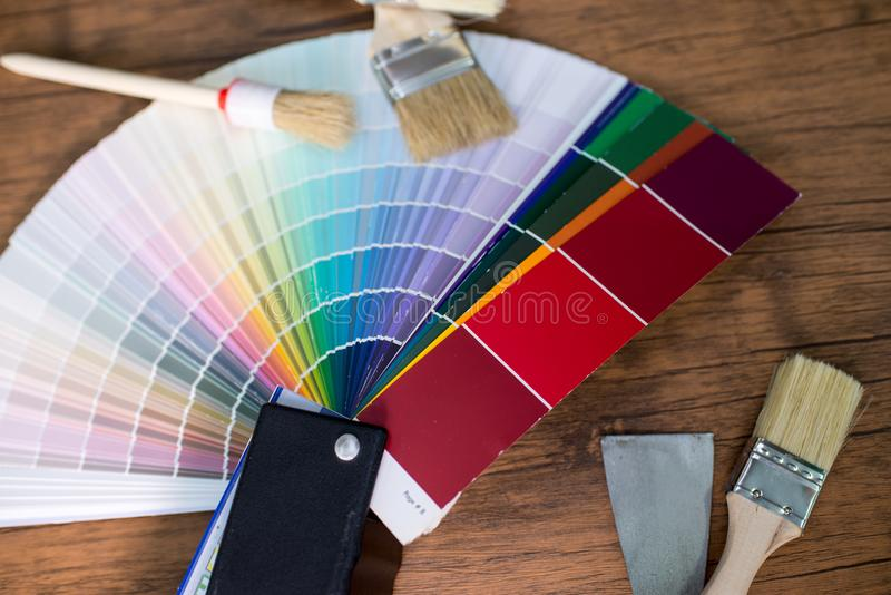 Color palette, guide of paint. On the table stock photo