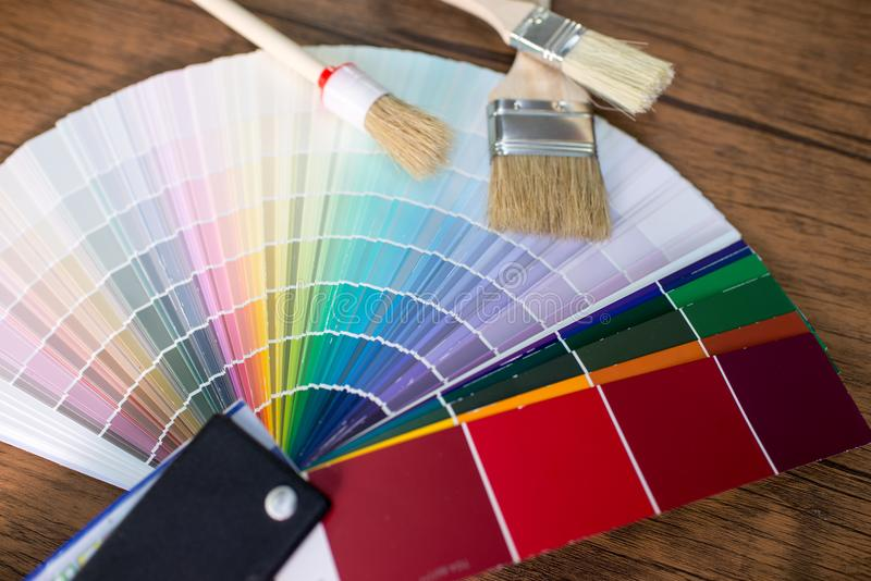 Color palette, guide of paint. On the table stock image