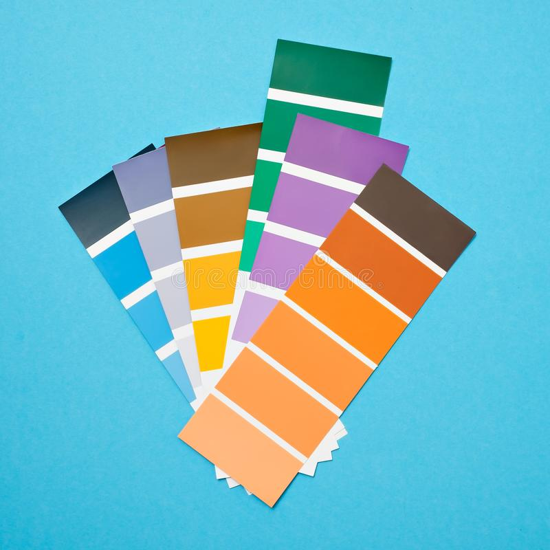 Color palette with various samples. Paint selection catalog stock photo