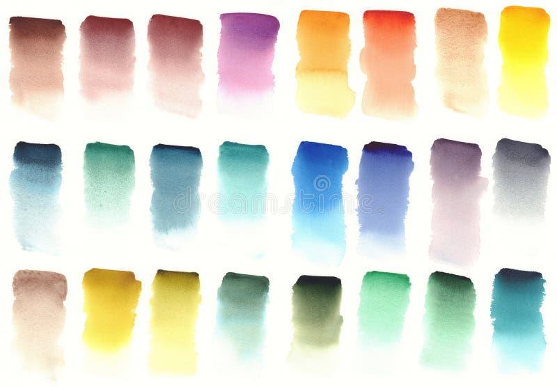 Color palette of watercolor paints. Color design stock photos