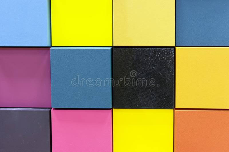 Color palette on wooden samples for paint selection. Background from color swatches royalty free stock photography