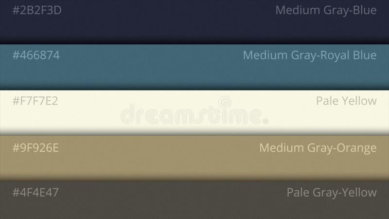 Color pallette, cosmic colors. Color palette with various samples. Paint selection catalog stock photos