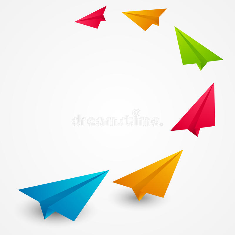 Color paper airplanes royalty free illustration