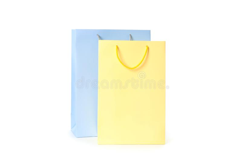 Color paper bags isolated royalty free stock photos
