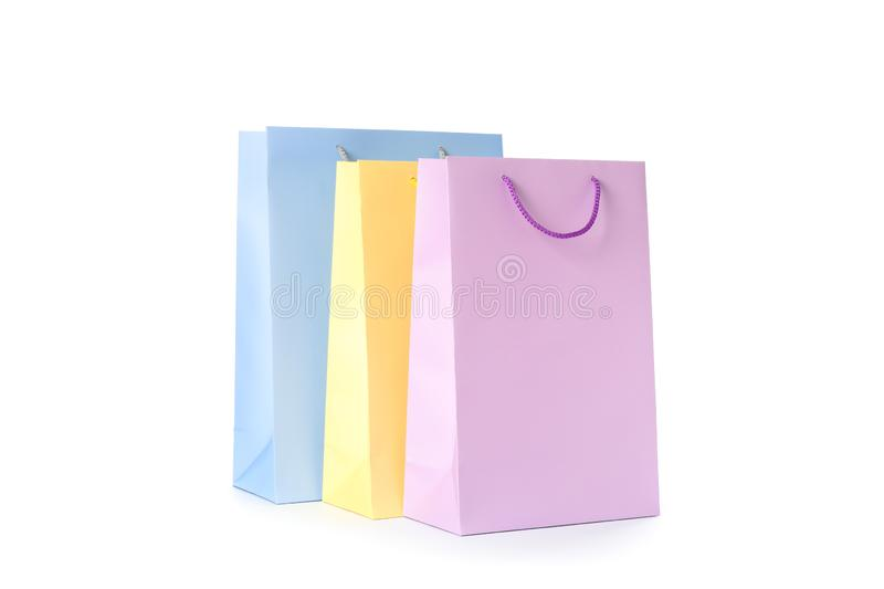 Color paper bags isolated royalty free stock photo