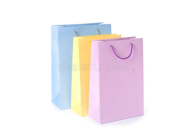 Color paper bags isolated royalty free stock photography