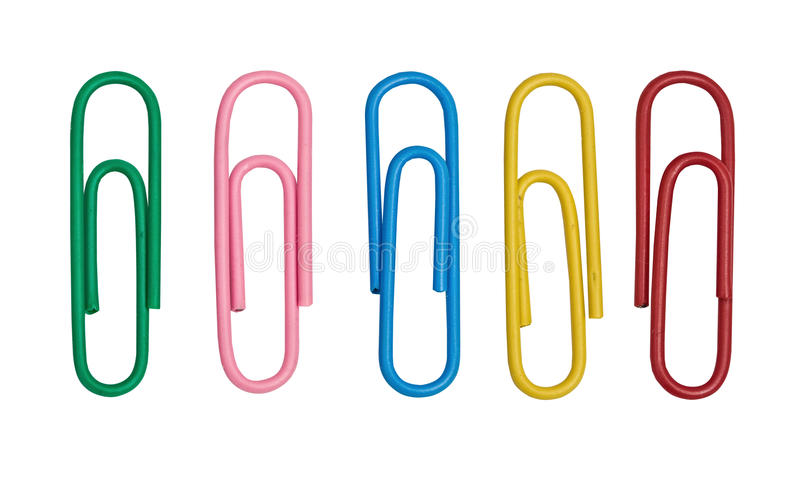 Color paper clips royalty free stock photography
