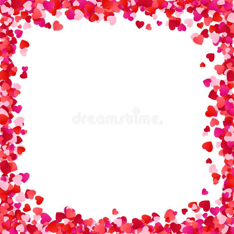 Color Paper Heart Frame Background. Heart Frame with space for Text. Romantic Scattered Hearts Texture. Love. Design for Valentine`s Day or Weddings and Mother royalty free illustration