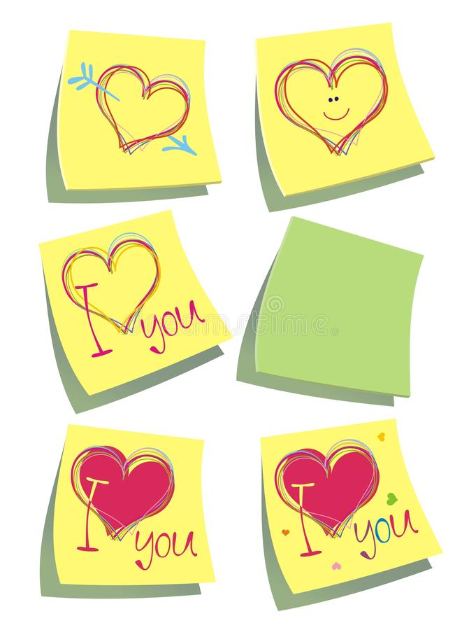 Download Color Paper Post-it Notes With Hearts. Stock Vector - Illustration: 10147087