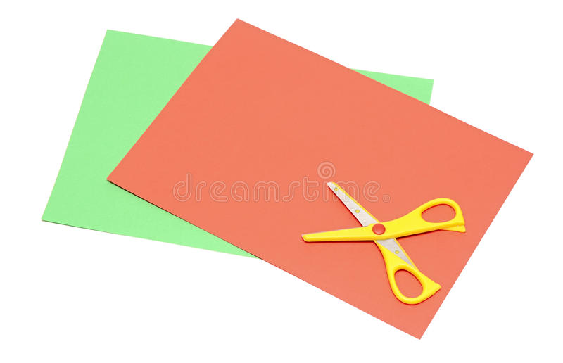 Color paper and scissors stock photo