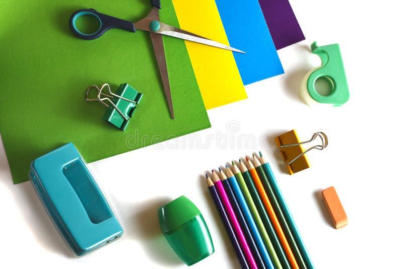 Color paper, scissors, pencils, sharpener, puncher stock photo