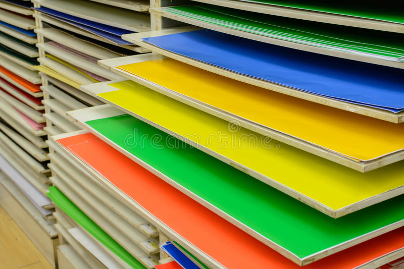 Color paper on shelf royalty free stock image