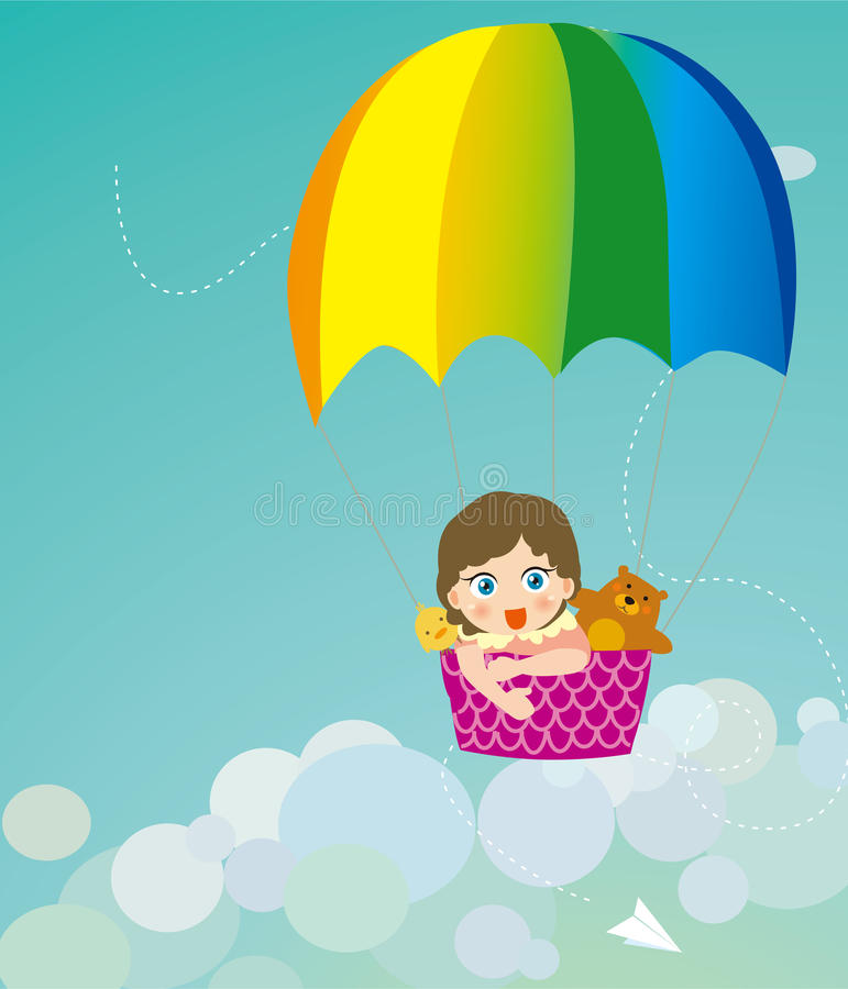 Download Color Parachute On Children And Animals Royalty Free Stock Photos - Image: 20039668