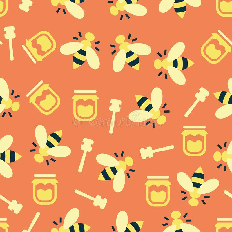 Color pattern with bees and honey. Simple vector illustration with ability to change vector illustration