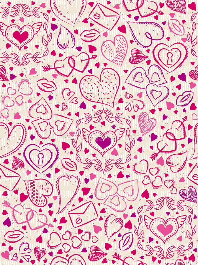 Color patterned background with red valentine hearts, vector royalty free stock photos