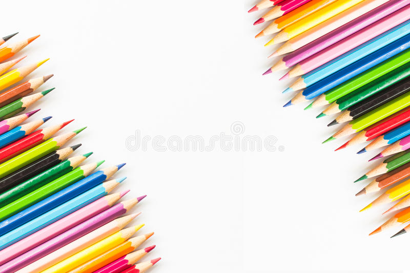 Color pencil. With copy space isolated on whtie background,education concept stock photo