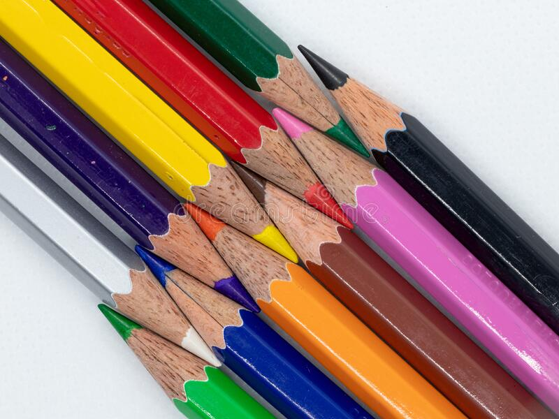 Color Pencil with different color. A colored pencil American English, coloured pencil Commonwealth English,[1] pencil crayon, lead or coloured/colouring lead royalty free stock images