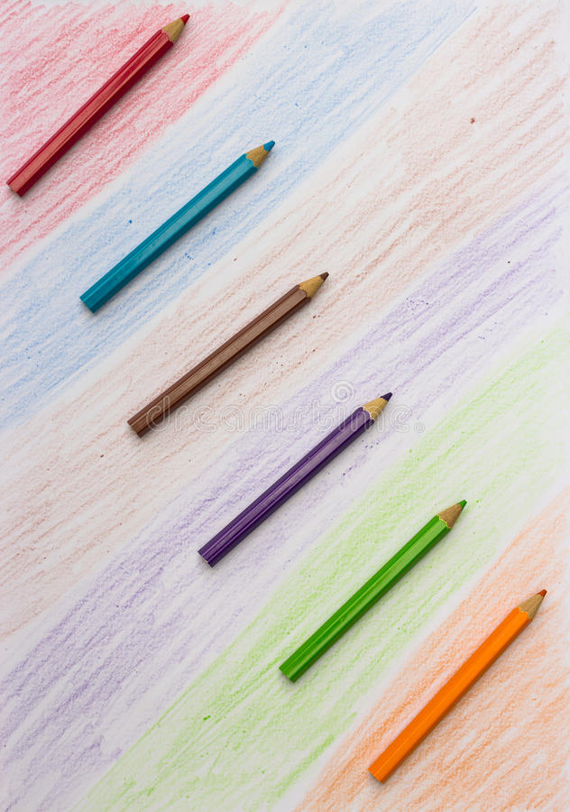 Color pencil and Set of color penci. L design elements royalty free stock image