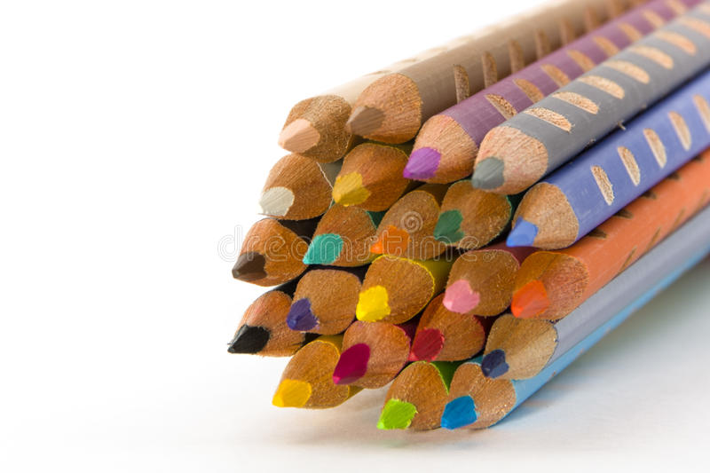 Color pencil set. On isolated white background stock images